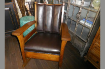 Oak Morris Rocker in Leather or Vinyl